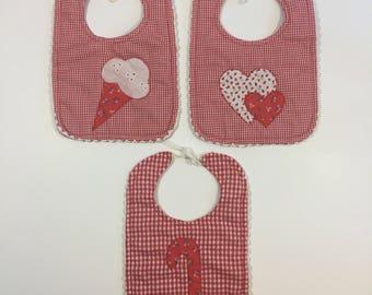 Handmade Vintage Gingham Bibs - 80's Baby Bib - Red Bib - Vintage Baby - Handmade Baby Bib - Vintage Bib - Heart Bib - Ice Cream Bib