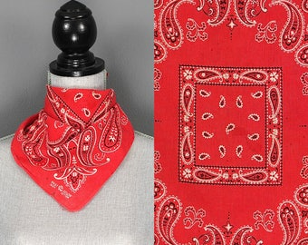 Vintage Fast Color Bandana - 50s 60s  Elephant Brand Fast Color Red Bandana - 1950s 1960s Paisly Polkadot Trunk Up Fast Color Bandana