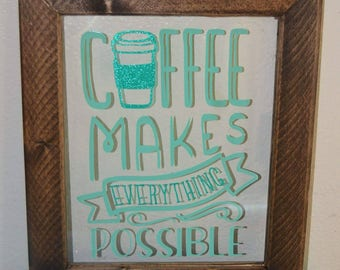 Ready to ship handmade floating frame with coffee saying, floating frame, wooden frame