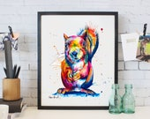 Colorful Squirrel Watercolor Painting - print of my original Squirrel art