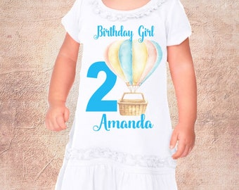 Birthday Hot Balloon Theme; Onezee Dress Or Shirt And Personalized For Free; Name And Number Color Can Change Fast Shipping;6 Months & Up