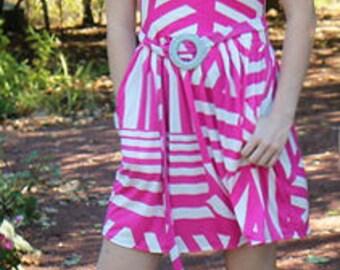 Amy Dress- Pink/White