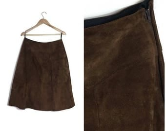 Orginal 70s brown suede skirt / dark beown thick suede A line skirt / brown leather skirt / 70s hippie skirt / real suede skirt uk 12-14