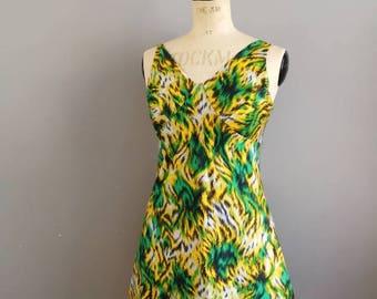 Vintage 60s mini dress // yellow and green jungle dress // 1960s sun dress // tropical retro dress //fitted mini dress // boho hippie dress