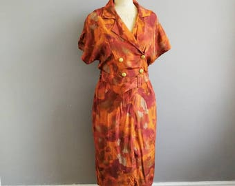 Rusty orange vintage dress / 80s autumnal day dress / 80s belted  midi dress / boho retro orange dress with gold buttons and matching belt