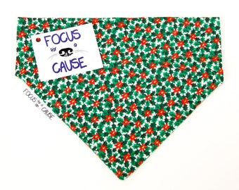 Little Poinsettias Dog Bandana, Christmas Dog Bandana, Pet Bandana, Holiday Bandana by Focus for a Cause