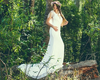 lace wedding dress/boho wedding drs/simple beach wedding dress/boho beach wedding dress/ beach wedding gown/bohemian wedding dresses