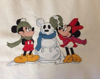 Disney Mickey Mouse and Minnie completed christmas cross stitch