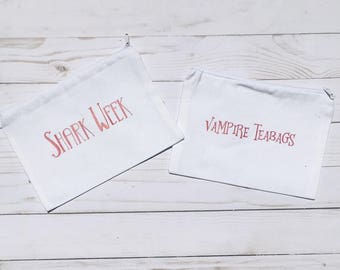 vampire tea bags tampon amp maxi pad bag zippered fabric purse