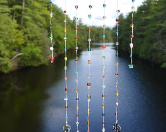 Large glass peace sign and glass bead sun catcher windchime