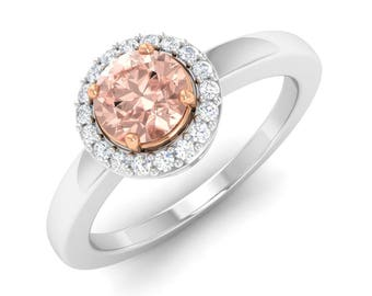 Morganite Engagement Ring | Natural Morganite Ring With Diamond 14K Gold | Halo Engagement Ring | Anniversary Ring | Wedding Ring