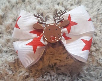 Christmas reindeer hair bows, hair clips for stocking fillers