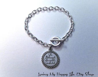 She BELIEVED she could so she did, BRACELET, silver, cable chain, toggle clasp, personalize, customize, pendant, CHARM