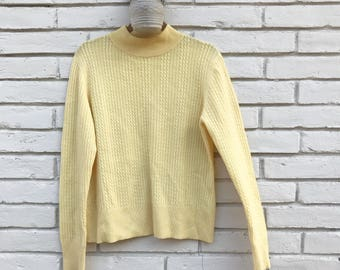 100% cashmere vintage 70's 80's cable knit mock neck sweater yellow