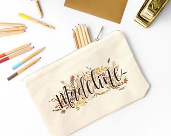 Cosmetic Bag - Cotton Canvas Personalized Make-up Bags for Bridesmaids - Fall Wedding - Autumn Wedding - Custom Make Up Bag with Gold Zipper