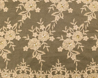 Gold Embroidery Flowers with Rhine stones on a Mesh Lace Fabric by the Yard-Style- 2882