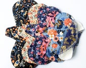 """Made to Order Lucy and Mabs Curvy 10"""" SET of Reusable mama cloth pads/ Rifle Paper & Co"""