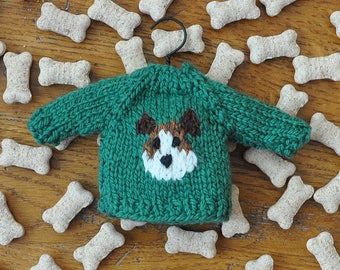 Jack Russell Terrier Hand-Knit Sweater Ornament  *Available to Order*  please allow about a week for me to knit one just for you!