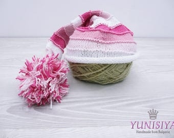 Crochet baby hat Baby girl hat Crochet hat Elf Hat Hat with Pom Pom Striped elf hat Pink white hat Crochet Baby Elf Hat Baby Stocking Hat