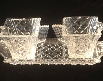 Vintage Small Cut Glass Cream and Sugar on Tray