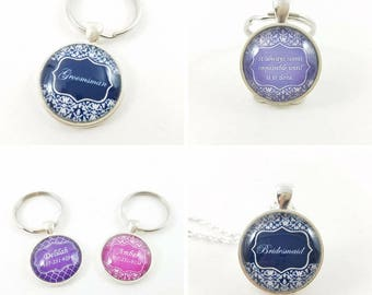 Personalized Custom Name Initial Monogram Quote Silver & Glass Pendant Necklace or Keychain