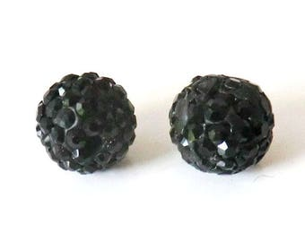 1 x bead ball 8mm black crystal rhinestones