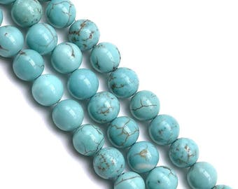 10 x 8mm (reconstituted) TURQUOISE round beads