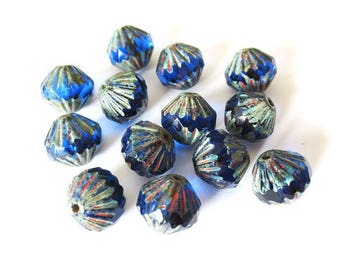 4 9mm Transparent Capri Blue/Picasso Baroque Czech glass beads