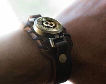 Men's Pisces Bracelet, Adjustable Leather Bracelet