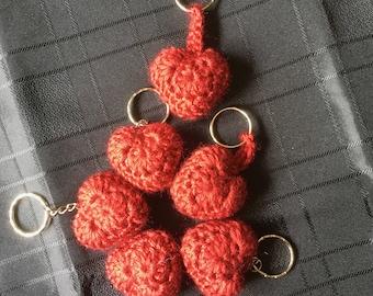 Crochet Heart Keyring - Red