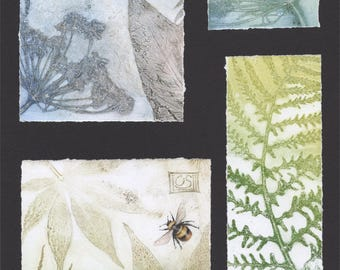 Original monoprints | Botanical fine art prints | Print making | Garden leaves, flowers and Bee | One of a kind | Composite Monotype