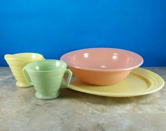 Vintage Hazel Atlas Moderntone Platonite Serving Set - Platter, Bowl, Sugar and Creamer - Mix Color Set