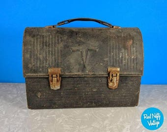 Vintage Black Metal Thermos Lunchbox - 1950's Rusty Metal Lunchbox - Photography Prop