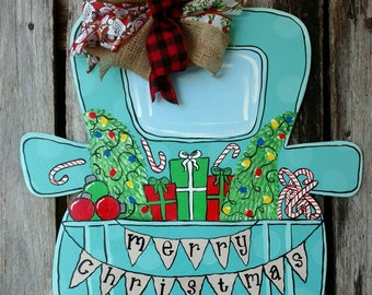 Christmas door hanger, Christmas truck door hanger, Christmas tree door hanger