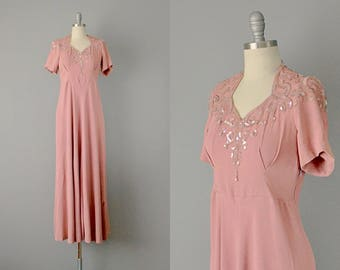 40s Dress // 1940's Dusty Rose Silk Crepe Sequined Dress // M-L
