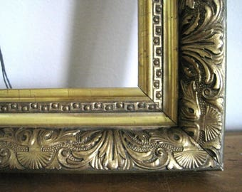 Vintage Gold Frame, French Baroque Style Gold Wood, Ornate Frame, Gold Gesso, Hand Fan Design, Oriental Vibe, 17x15 for 11x13, Wall Decor