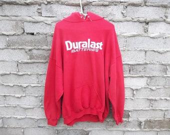 Vintage Hoodie Sweatshirt Duralast Batteries 1990s Novelty Car Racing Sports Logo Product Advertisement sz Large Oversized - XL Red