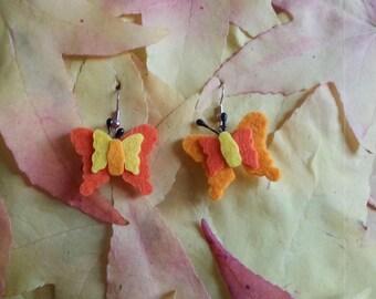Felt yellow/orange butterfly earrings