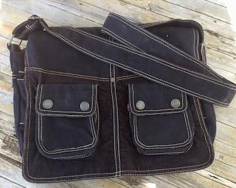 Vintage Black canvas Levi Messenger Bag Book Bag