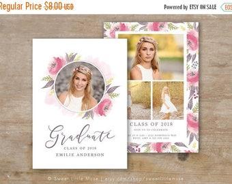 ON SALE Senior Graduation Template - Watercolor Floral Senior Card Templates - Photoshop Template for Photographers - 5x7 card template