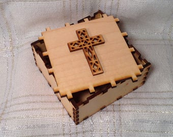 "Wooden Cross Puzzle Box - Religious Storage Box - Engraved Cross on Lid - Bible Verse on Front, Matthew ""Come to me, all you who are weary"""