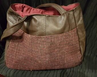 Leather and tweed handbag
