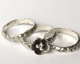 Sterling Silver Stacking Ring Set ; Metalsmith  Jewelry ; Flower ring ; Botanical Jewelry  ;925 Jewelry ; Stacking Rings