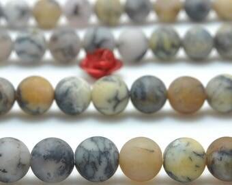 62 pcs of Natural Moss Peruvian Opal matte round beads in 6mm (07064#)
