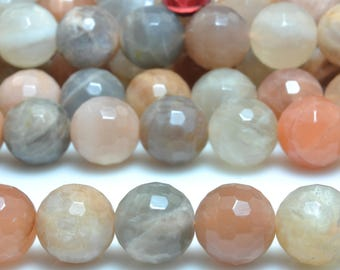 37 pcs of  Natural Rainbow Moonstone faceted round beads in 10mm (06568#)