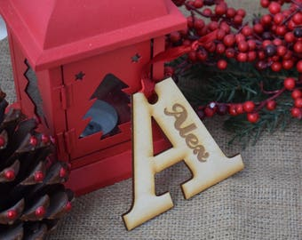 Personalised Letter Hanging Christmas Tree Decoration