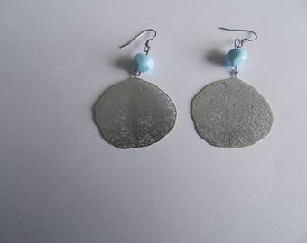 Turquoise Lampwork bead and silver filigree leaf earrings