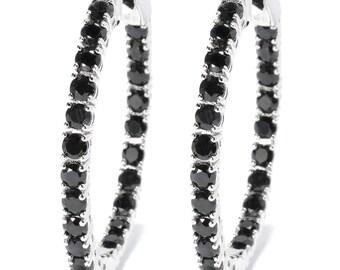 "Rhodium o/ Sterling Silver 6.9ctw Black Sapphire Oval Hoop Earrings 1.5""L"