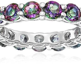 Sterling Silver Mystic Topaz Eternity Ring, Size 7
