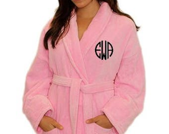 Ladies Plush Robe with Glitter Monogram